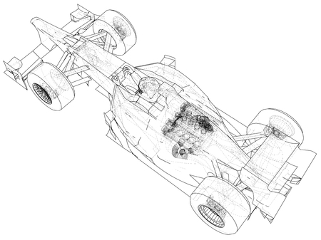 Model speed car. Abstract drawing. Tracing illustration of 3d