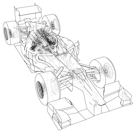 Model speed car. Abstract drawing. Wire-frame. EPS10 format. Vector created of 3d Illustration