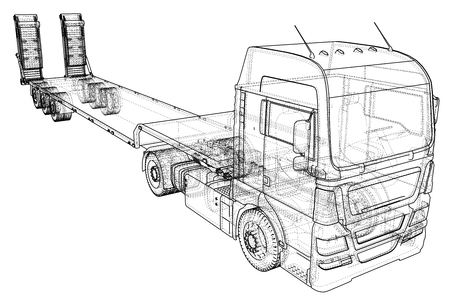hauling: Low bed Truck Trailer. Abstract drawing. Tracing illustration of 3d. Illustration