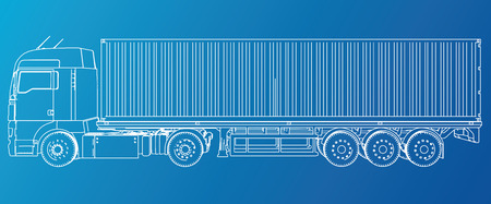 Model trailer truck. Wire-frame. EPS10 format. Vector rendering of 3d.  イラスト・ベクター素材