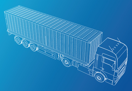 Vehicle. Big Cargo Truck. EPS10 format. Vector created of 3d