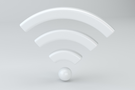 Wi Fi Wireless Network Symbol, 3d rendering on studio background Stock Photo