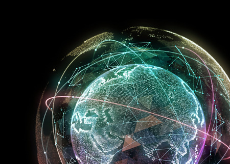 Abstract network of the global telecommunications. 3d illustration Stok Fotoğraf