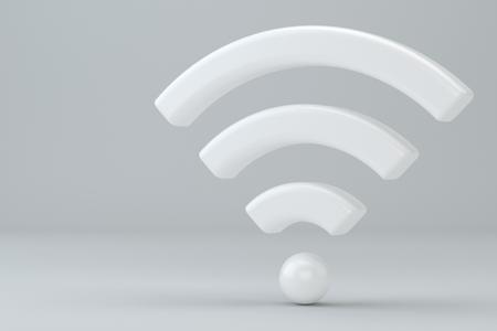 Wi Fi Wireless Network Symbol, 3d rendering on studio background Stock Photo