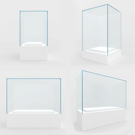 Set empty glass showcase in cube form for presentation on white background. 3d rendering. Archivio Fotografico