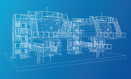 Wire-frame Oil and Gas industrial equipment. Tracing illustration of 3d. Vettoriali