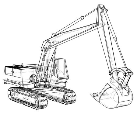 Construction Machine Vehicle. Excavator. EPS10 format. Vector created of 3d Banco de Imagens - 90757223