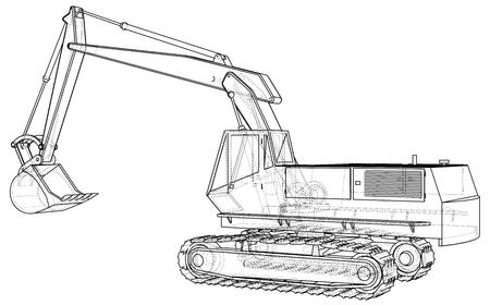 Baumaschine Fahrzeug . Bagger . EPS10-Format . Vektor erstellt von 3d Standard-Bild - 90757224