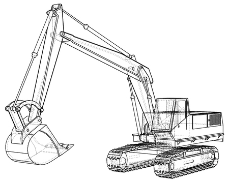 Excavator. Abstract drawing. Wire-frame. EPS10 format. Vector created of 3d