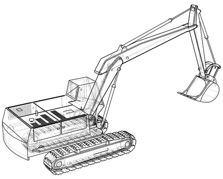 Excavator wire-frame format vector. Ilustração