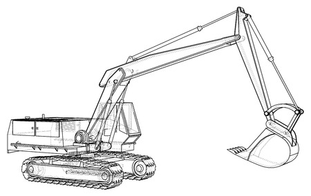 Excavator abstract drawing. Tracing illustration of 3d