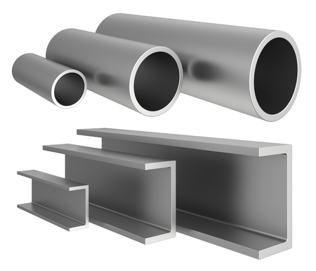 Set metal pipe isolated on background. 3d rendering