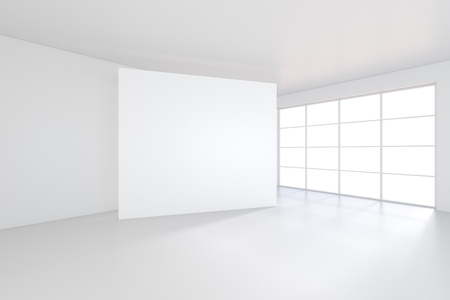 White billboard in an empty office with large windows and beautiful diffused light from the window. 3D rendering. Banco de Imagens