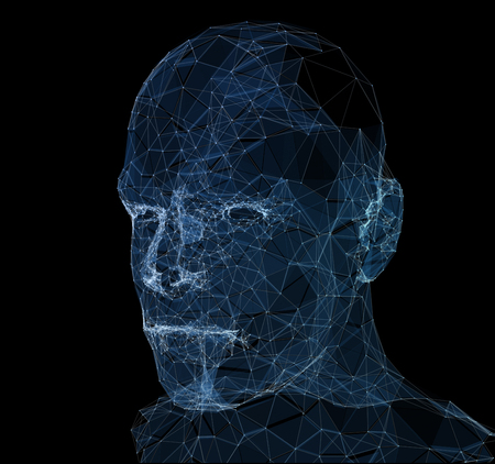 Lines connected to thinkers, symbolizing the meaning of artificial intelligence. 3d illustration