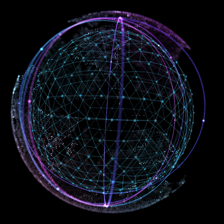 Point and curve constructed the sphere wireframe, technological sense abstract illustration. Stock Photo