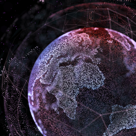 connections global communication in the world map view on dark space background 3d illustration stock