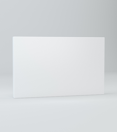 White Realistic Rectangle Box Package Mockup With Shadow For Stock