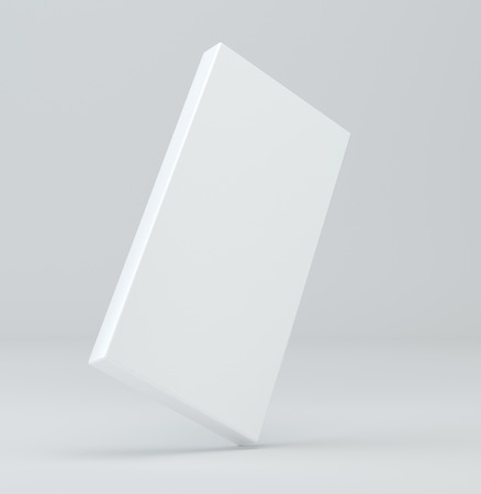 White package blank box from top front side angle. 3D illustration on studio light background