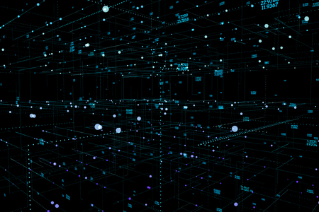 Abstract 3D big data visualization. Futuristic infographics aesthetic design. Visual information complexity. Intricate data threads graphic. Abstract dots space. 3d illustration