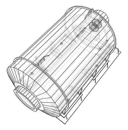 Wire-frame engine. Tracing illustration of 3d. vector format