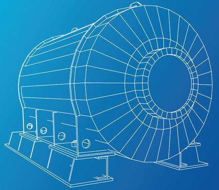 Vector illustration of engine unit oil industry. Created illustration of 3d Çizim