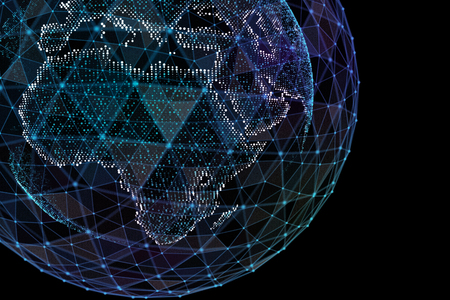 Communication of people in a social network without boundaries. Connection lines Around Earth Globe.The concept of social network. 3d illustration
