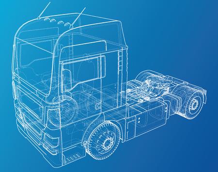 Euro trucks isolated on blue background. Illustration