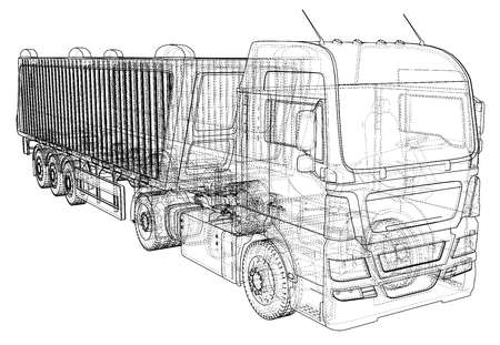 Dump truck vector illustration. Isolated white tipper lorry. Tracing illustration of 3d. EPS 10 vector format