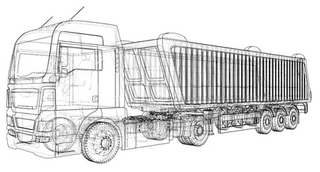Vector dump truck. Tipper lorry on transparent background. racing illustration of 3d. EPS 10 vector format Vectores