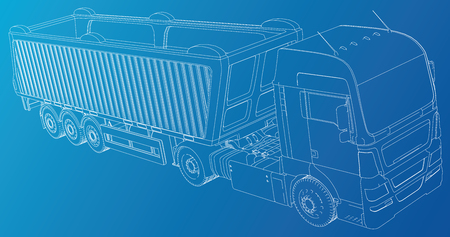 Line vector construction machinery truck tipper. Industrial style. Corporate cargo delivery. Created illustration of 3d. Wire-frame