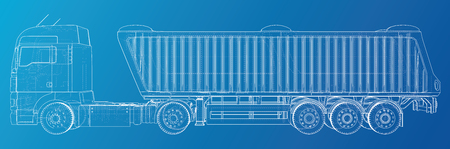 Vector Isometric representing truck or tractor with tipper semi-trailer. Created illustration of 3d  Wire-frame