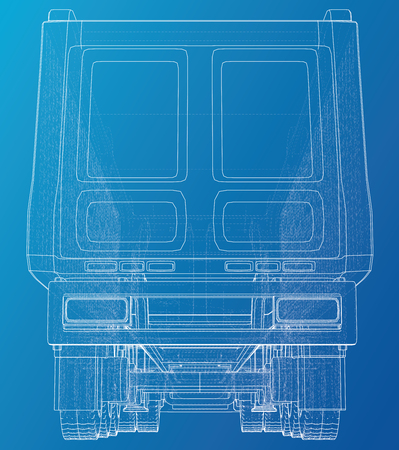 Line vector construction machinery truck tipper. Industrial style. Corporate cargo delivery. Created illustration of 3d  Wire-frame.