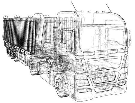 Truck with trailer vector. Isolated on white. Vehicle mockup. Created illustration of 3d. Wire-frame