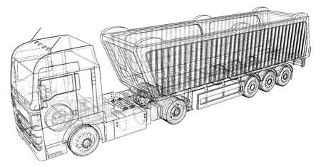 Modern Cargo Truck isolated vector illustration
