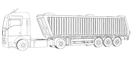 Truck with trailer wire-frame vector illustration. Isolated on white. Vehicle mock-up. Created illustration of 3d.