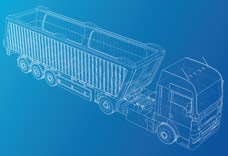 Semi-trailer dump truck sketch. Eurotrucks vehicle. Tracing illustration of 3d. EPS 10 vector format