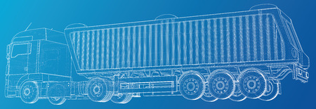 Semi-trailer dump truck sketch isolated on blue background. 3-axle trailer truck. Tracing illustration of 3d. EPS 10 vector format Иллюстрация
