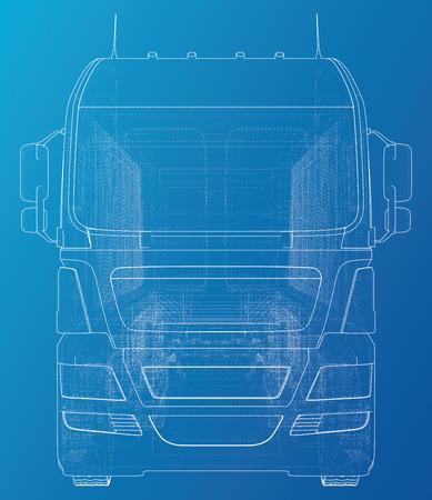 Semi-trailer dump truck sketch. Eurotrucks vehicle. Tracing illustration of 3d. EPS 10 vector format. Illustration