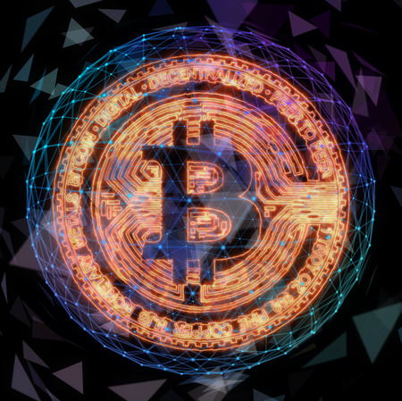 Golden bitcoin coin in fire flame. Bitcoin Gold blockchain hard fork concept. Cryptocurrency symbol with peer to peer network background