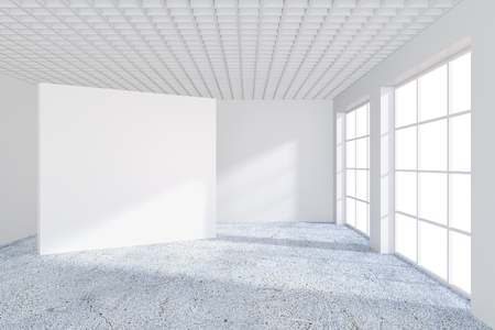 White billboard in an empty office with large windows and beautiful diffused light from the window. 3D rendering. Imagens