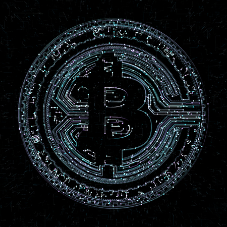 Bitcoin digital currency and world globe hologram, futuristic digital money and technology worldwide network concept.