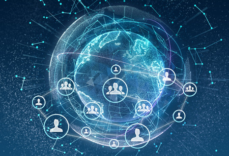 Linking entities. Networking, social media, communication on earth background. Small network connected to a larger network. Stock Photo