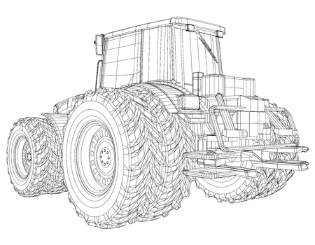 Agricultural tractor. Tracing illustration of 3d.