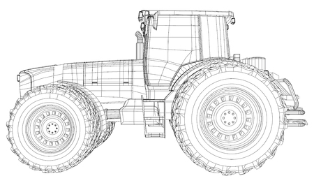 Vector tractor. Side view. Wire-frame tracing illustration of 3d.