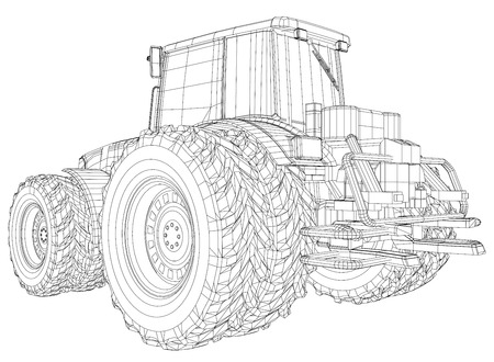 Vector wheeled tractor isolated on white background. Side view. Tracing illustration of 3d.