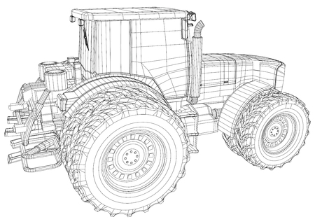 Working Tractor Vector. Created illustration of 3d.
