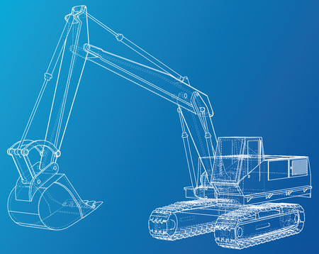 Excavator. Wire-frame Vector rendering of 3d