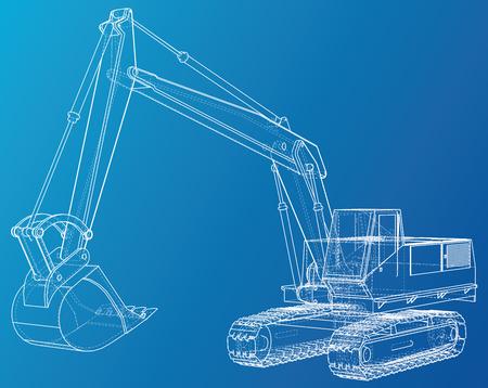Excavator. Wire-frame Vector rendering of 3d