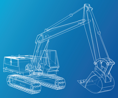 Excavator vector. Wire-frame Vector created of 3d