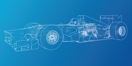 Model speed car. Abstract drawing. Wire-frame Vector created of 3d Illustration